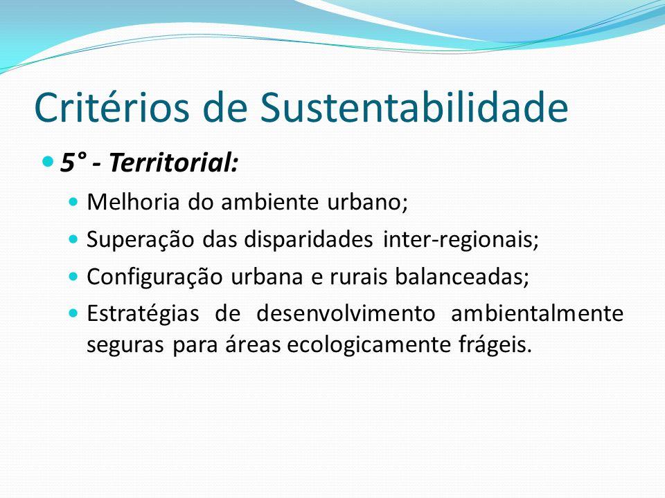Critérios de Sustentabilidade 5° - Territorial: Melhoria do ambiente urbano; Superação das disparidades inter-regionais; Configuração urbana e rurais