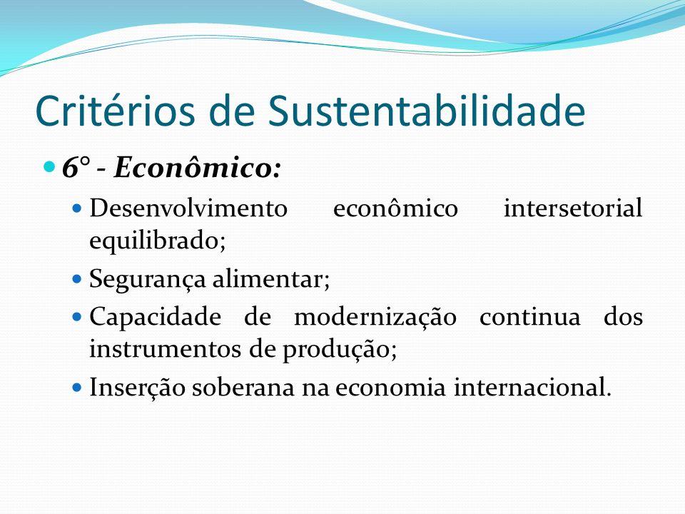 Critérios de Sustentabilidade 6° - Econômico: Desenvolvimento econômico intersetorial equilibrado; Segurança alimentar; Capacidade de modernização con