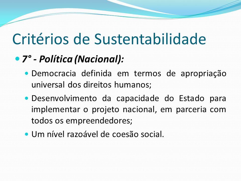 Critérios de Sustentabilidade 7° - Política (Nacional): Democracia definida em termos de apropriação universal dos direitos humanos; Desenvolvimento d