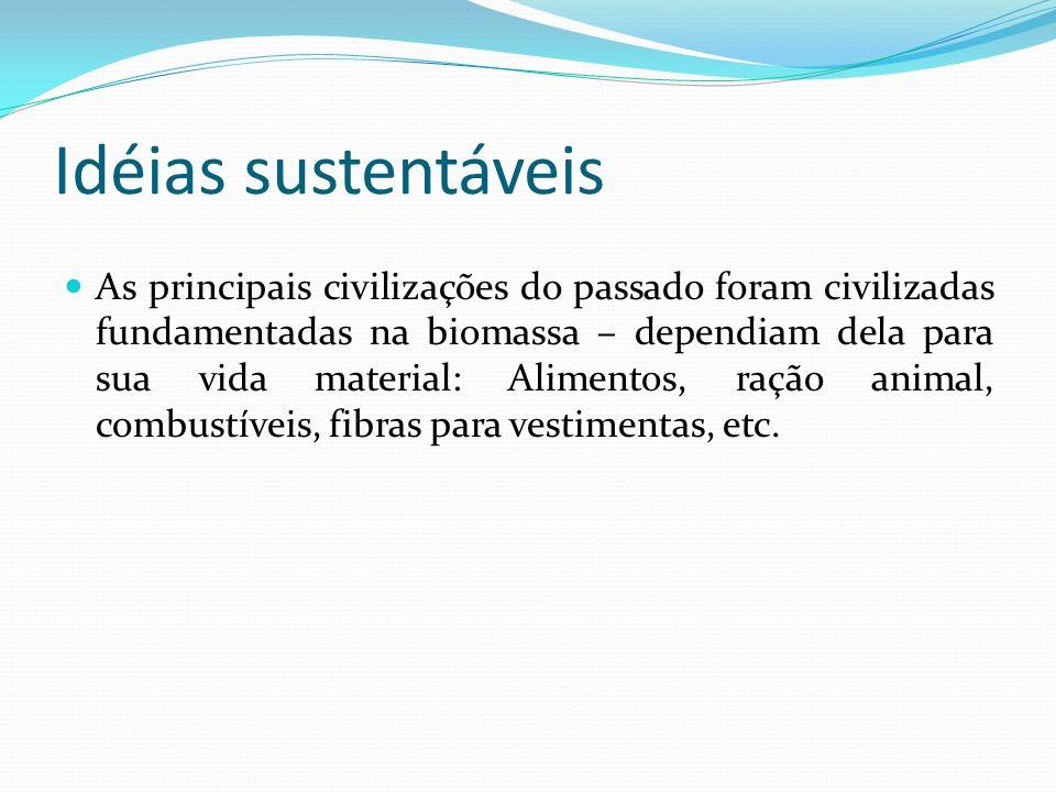 Idéias sustentáveis O nosso problema não é retroceder aos modos ancestrais de vida, mas decodificar e recodificar, como um ponto de partida para a invenção de uma moderna civilização de biomassa.