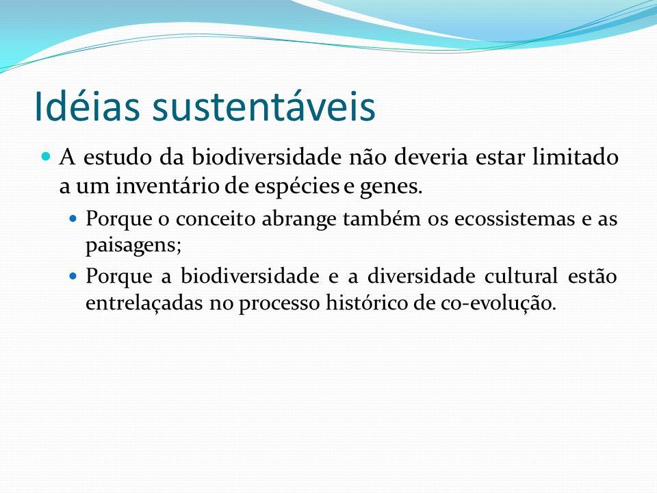 Idéias sustentáveis A estudo da biodiversidade não deveria estar limitado a um inventário de espécies e genes. Porque o conceito abrange também os eco