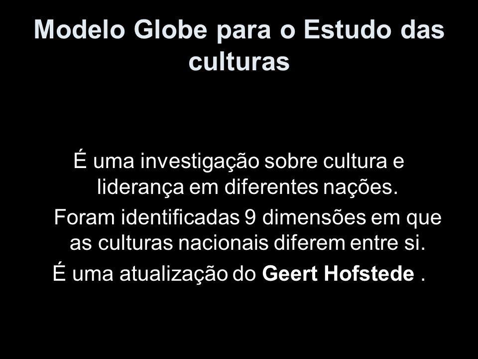 Modelo Globe para o Estudo das culturas É uma investigação sobre cultura e liderança em diferentes nações. Foram identificadas 9 dimensões em que as c