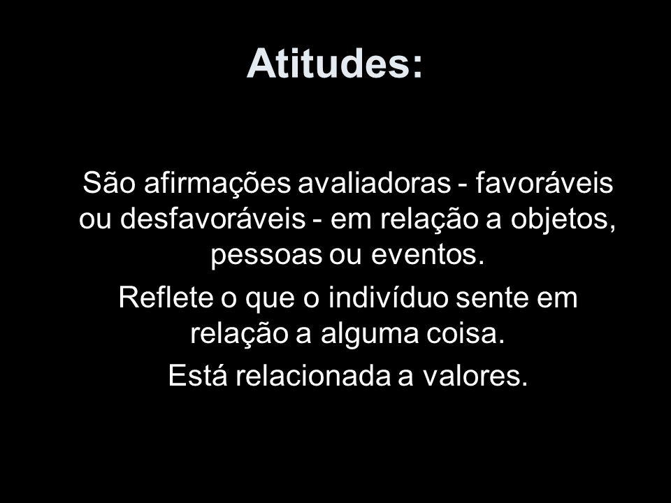 Atitudes: São afirmações avaliadoras - favoráveis ou desfavoráveis - em relação a objetos, pessoas ou eventos. Reflete o que o indivíduo sente em rela