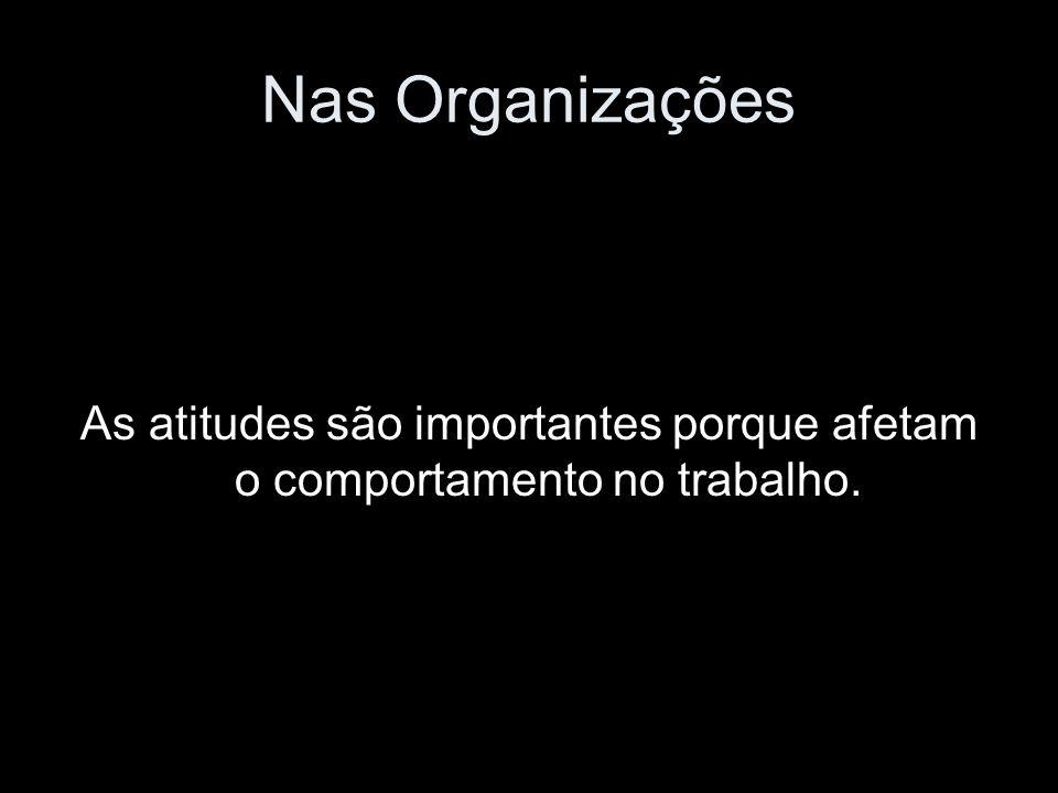 Nas Organizações As atitudes são importantes porque afetam o comportamento no trabalho.
