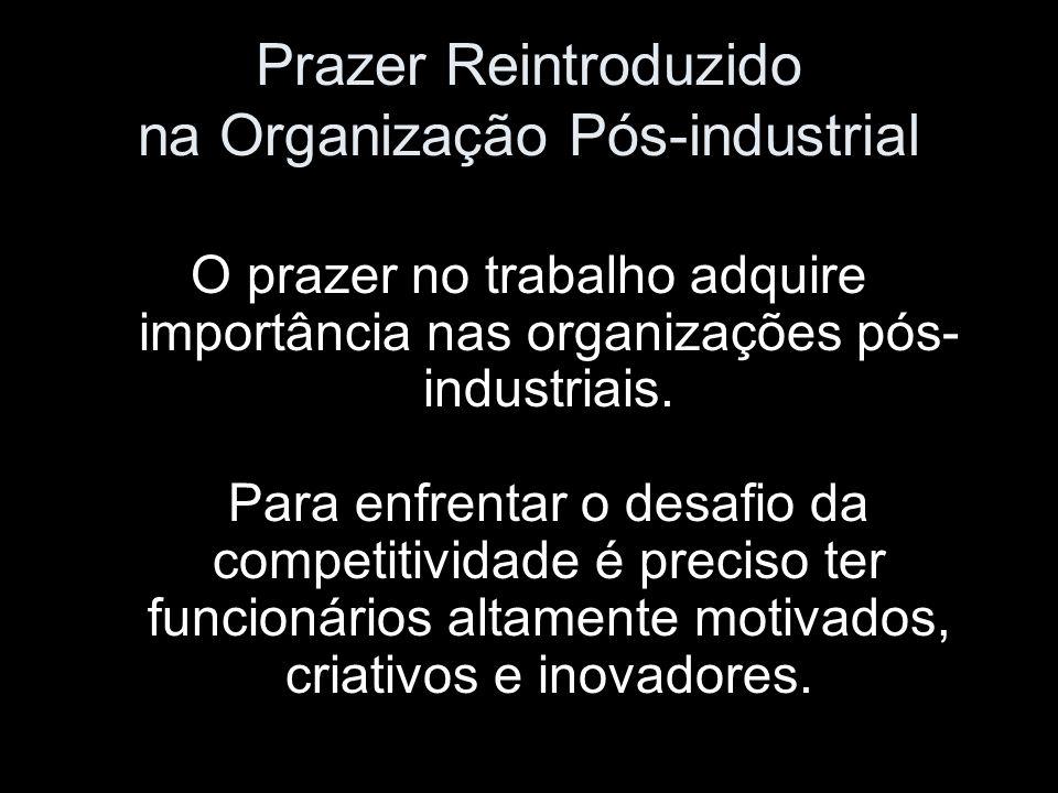 Prazer Reintroduzido na Organização Pós-industrial O prazer no trabalho adquire importância nas organizações pós- industriais. Para enfrentar o desafi