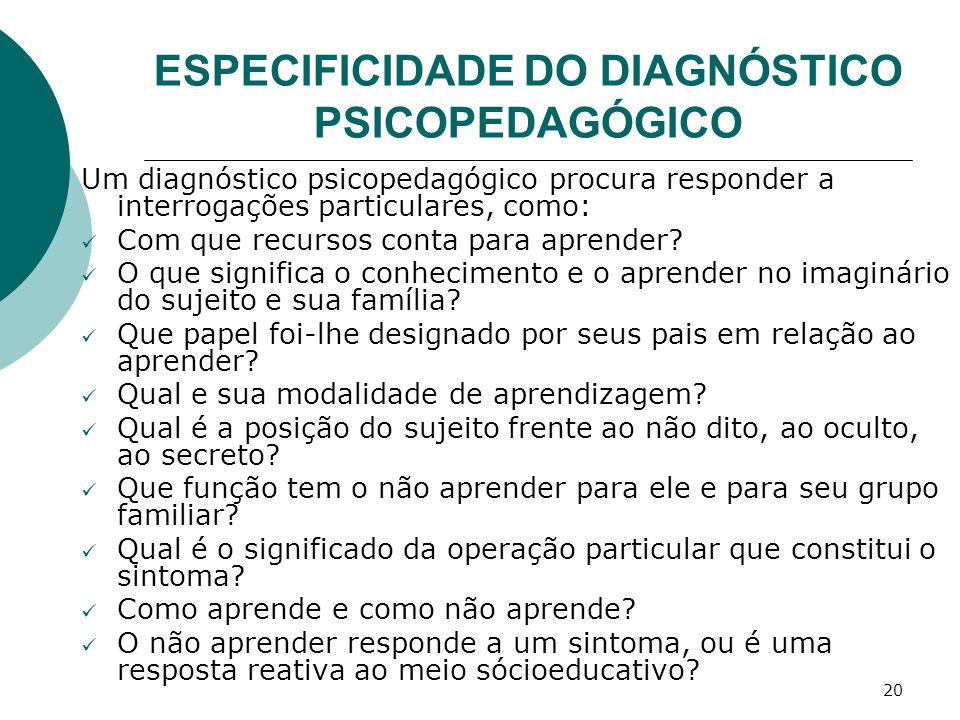20 ESPECIFICIDADE DO DIAGNÓSTICO PSICOPEDAGÓGICO Um diagnóstico psicopedagógico procura responder a interrogações particulares, como: Com que recursos