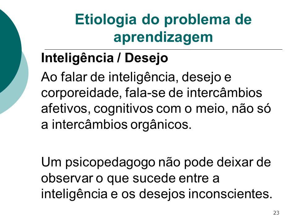 23 Etiologia do problema de aprendizagem Inteligência / Desejo Ao falar de inteligência, desejo e corporeidade, fala-se de intercâmbios afetivos, cogn