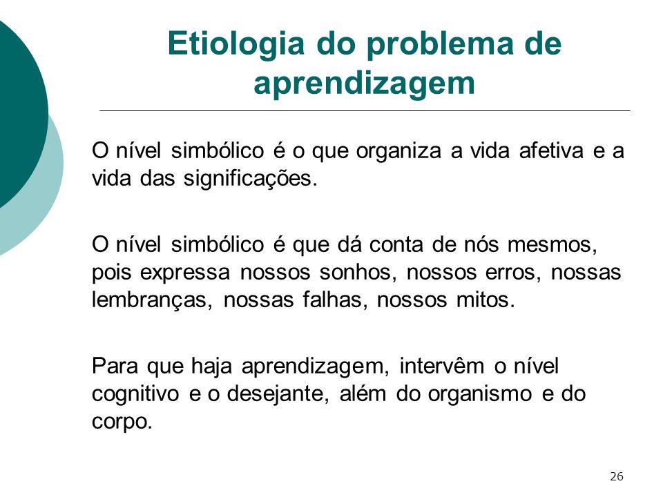 26 Etiologia do problema de aprendizagem O nível simbólico é o que organiza a vida afetiva e a vida das significações. O nível simbólico é que dá cont