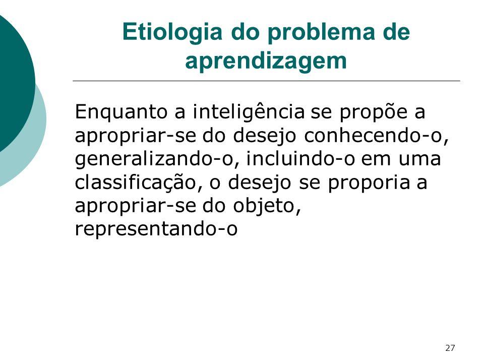 27 Etiologia do problema de aprendizagem Enquanto a inteligência se propõe a apropriar-se do desejo conhecendo-o, generalizando-o, incluindo-o em uma