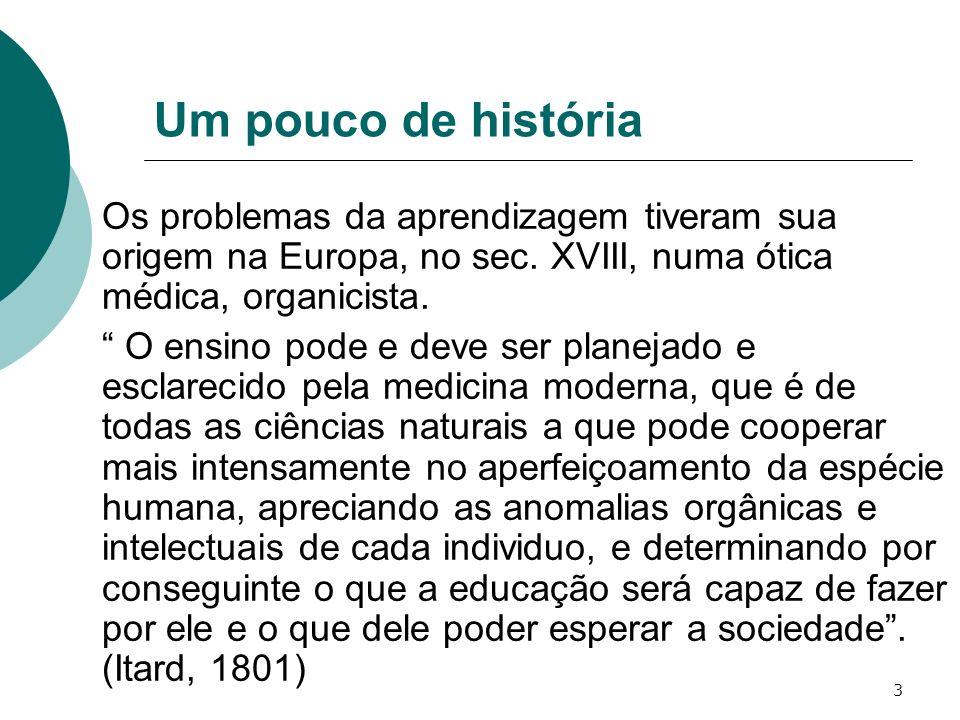 3 Um pouco de história Os problemas da aprendizagem tiveram sua origem na Europa, no sec. XVIII, numa ótica médica, organicista. O ensino pode e deve