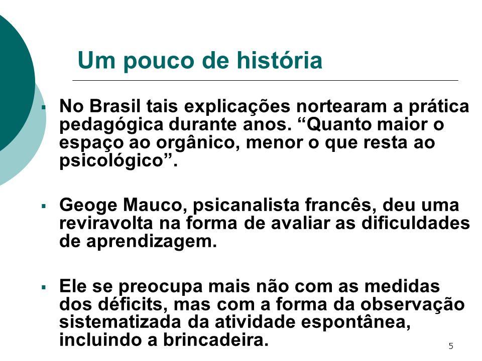 5 Um pouco de história No Brasil tais explicações nortearam a prática pedagógica durante anos. Quanto maior o espaço ao orgânico, menor o que resta ao