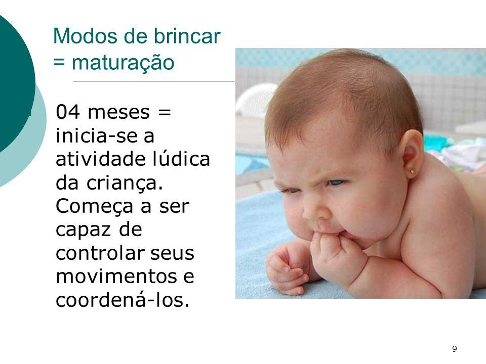 9 Modos de brincar = maturação 04 meses = inicia-se a atividade lúdica da criança. Começa a ser capaz de controlar seus movimentos e coordená-los.
