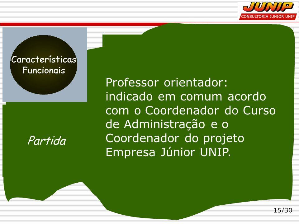 15/30 Professor orientador: indicado em comum acordo com o Coordenador do Curso de Administração e o Coordenador do projeto Empresa Júnior UNIP. Parti