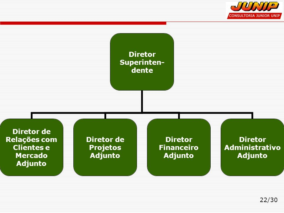 22/30 Diretor Superinten-dente Diretor de Relações com Clientes e Mercado Adjunto Diretor de Projetos Adjunto Diretor Financeiro Adjunto Diretor Admin