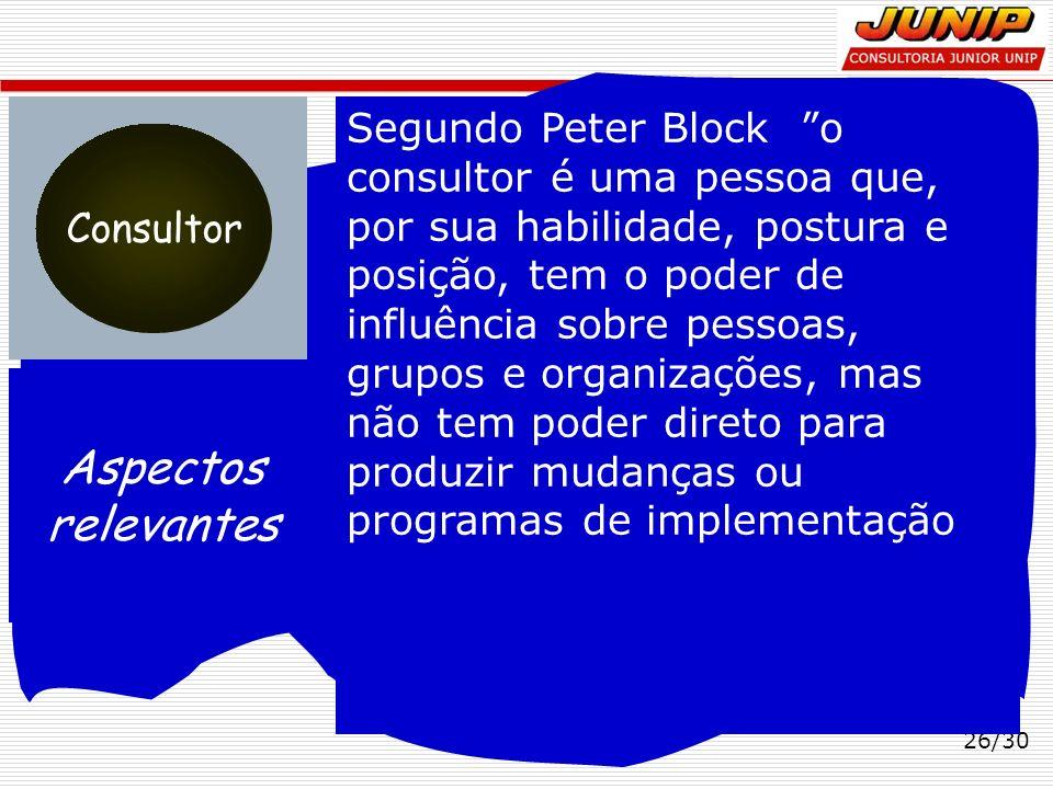 26/30 Aspectos relevantes Consultor Segundo Peter Block o consultor é uma pessoa que, por sua habilidade, postura e posição, tem o poder de influência
