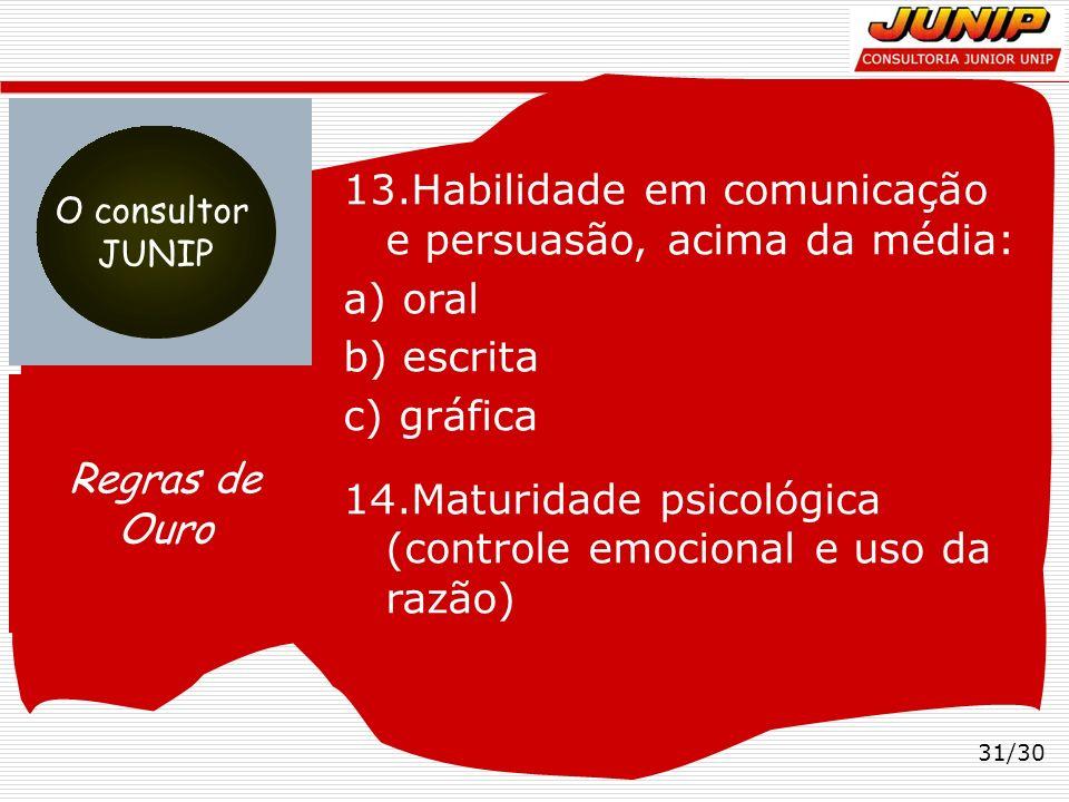 31/30 13.Habilidade em comunicação e persuasão, acima da média: a) oral b) escrita c) gráfica 14.Maturidade psicológica (controle emocional e uso da r