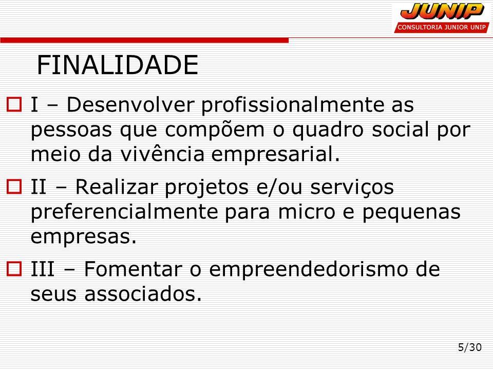 FINALIDADE I – Desenvolver profissionalmente as pessoas que compõem o quadro social por meio da vivência empresarial. II – Realizar projetos e/ou serv
