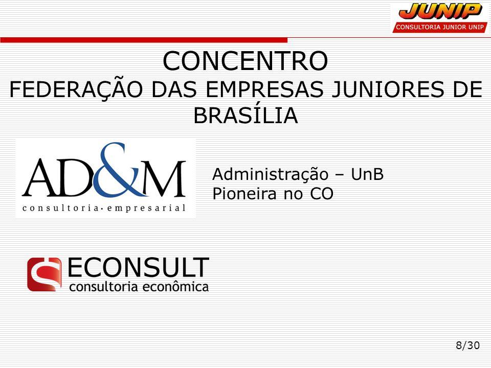 CONCENTRO FEDERAÇÃO DAS EMPRESAS JUNIORES DE BRASÍLIA 8/30 Administração – UnB Pioneira no CO