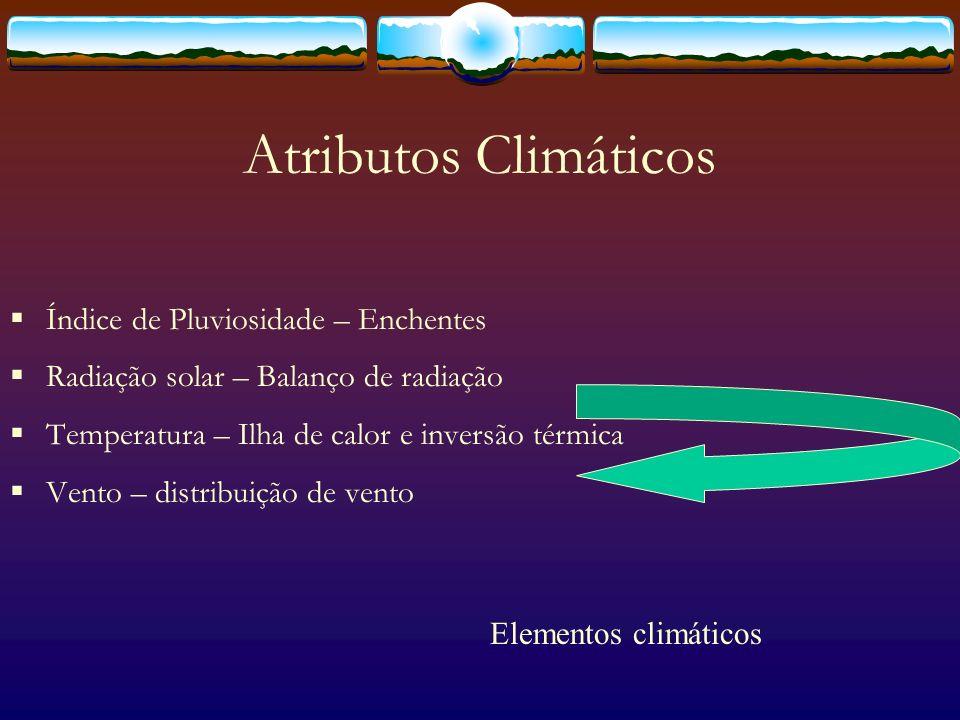 Fenômenos urbanos Ilhas de calor - Variação de temperatura ao longo da mancha urbana; Enchentes - Variação dos índices pluviométricos/aumento do escoamento superficial; Inversão térmica - circulação de ar quente/frio; Campos de vento - variação da pressão atmosférica/ atritos de superfície; Balanço de radiação - acúmulo de energia/variação de temperatura; Chuva ácida - circulação do ar/concentração de poluentes.