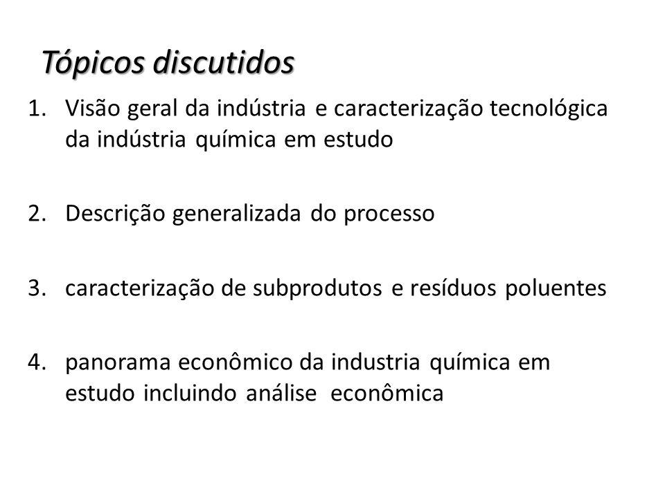 Tópicos discutidos 1.Visão geral da indústria e caracterização tecnológica da indústria química em estudo 2.Descrição generalizada do processo 3.carac