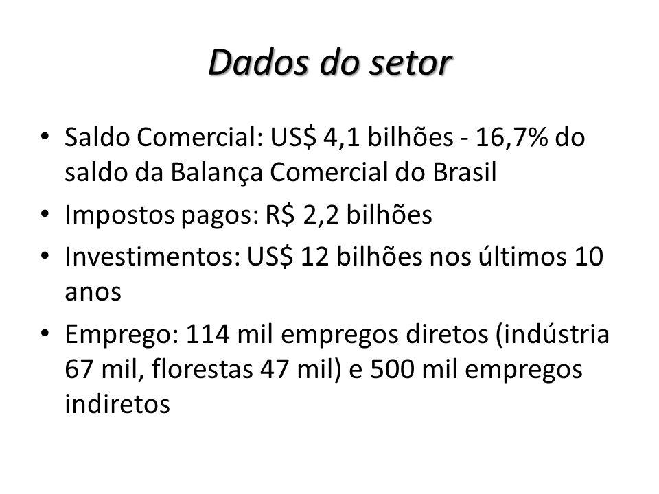 Brasil 3,0% do valor total da pauta de produtos exportados mercadorias de menor valor agregado Balança comercial positiva no setor Crise 2008 Prejuizo Aracruz Fusão Aracruz - VCP