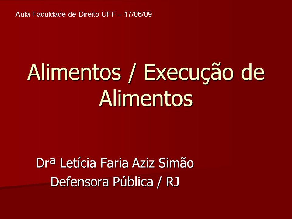 Alimentos / Execução de Alimentos Drª Letícia Faria Aziz Simão Defensora Pública / RJ Aula Faculdade de Direito UFF – 17/06/09