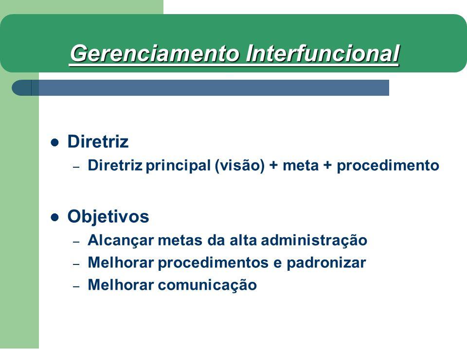 Diretriz – Diretriz principal (visão) + meta + procedimento Objetivos – Alcançar metas da alta administração – Melhorar procedimentos e padronizar – M