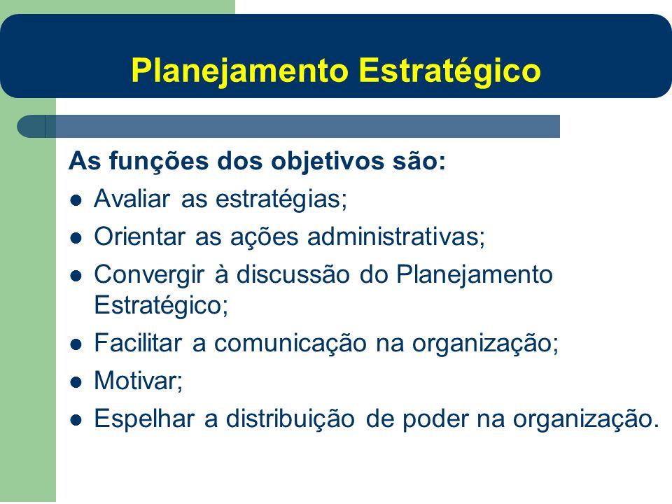 As funções dos objetivos são: Avaliar as estratégias; Orientar as ações administrativas; Convergir à discussão do Planejamento Estratégico; Facilitar