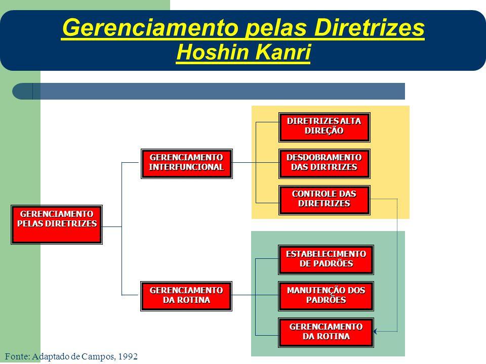 GERENCIAMENTO PELAS DIRETRIZES GERENCIAMENTO INTERFUNCIONAL GERENCIAMENTO DA ROTINA ESTABELECIMENTO DE PADRÕES MANUTENÇÃO DOS PADRÕES GERENCIAMENTO DA