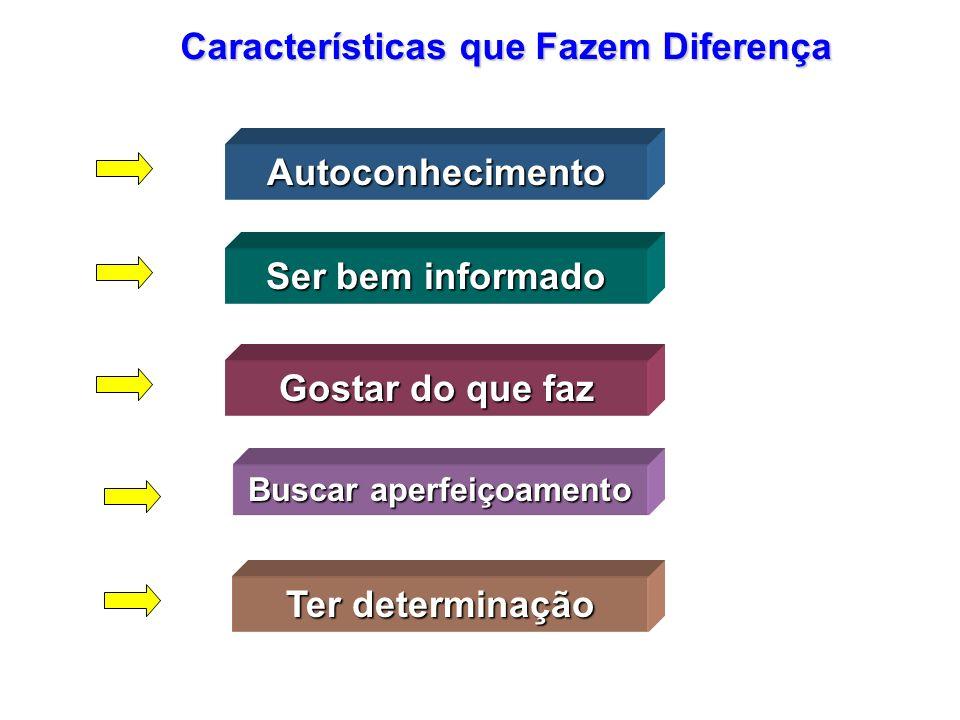 Autoconhecimento Características que Fazem Diferença Ser bem informado Gostar do que faz Buscar aperfeiçoamento Ter determinação