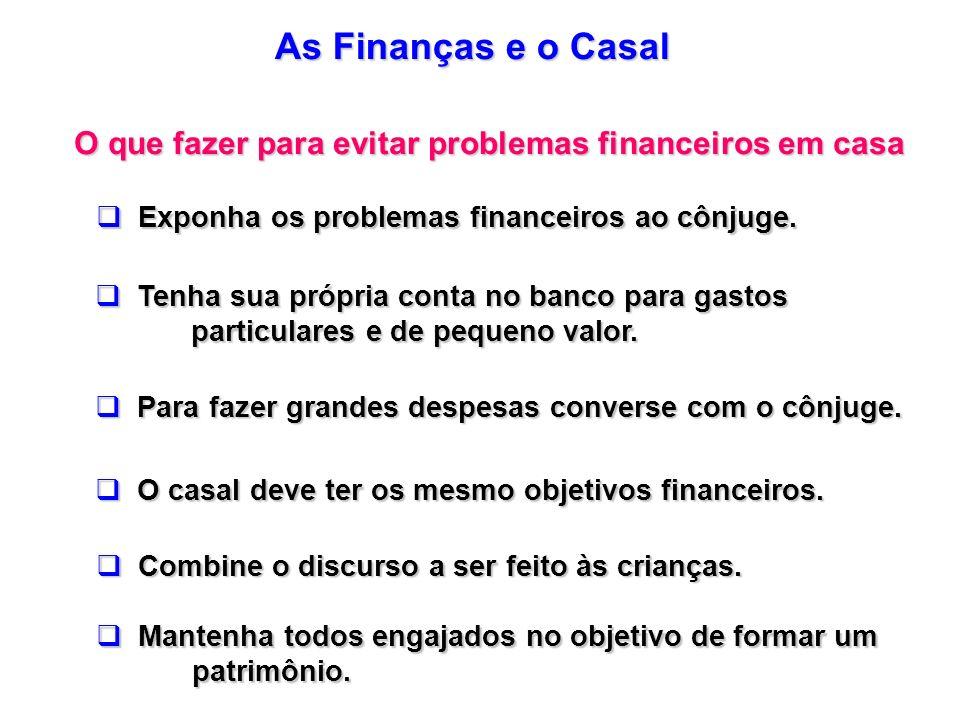 As Finanças e o Casal O que fazer para evitar problemas financeiros em casa Exponha os problemas financeiros ao cônjuge. Exponha os problemas financei