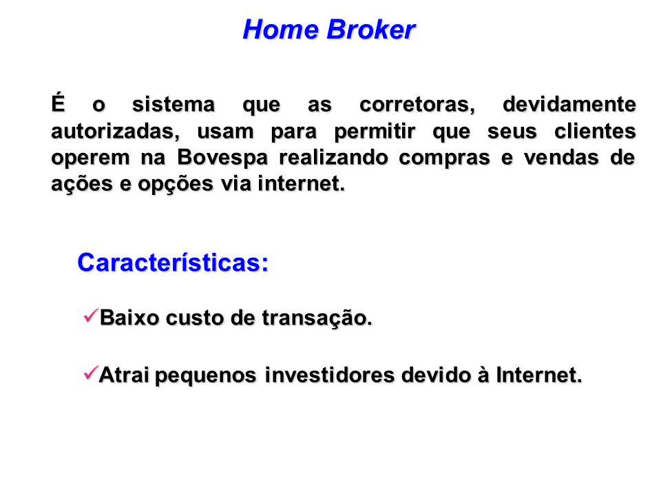 Atrai pequenos investidores devido à Internet. Atrai pequenos investidores devido à Internet. Baixo custo de transação. Baixo custo de transação. Cara
