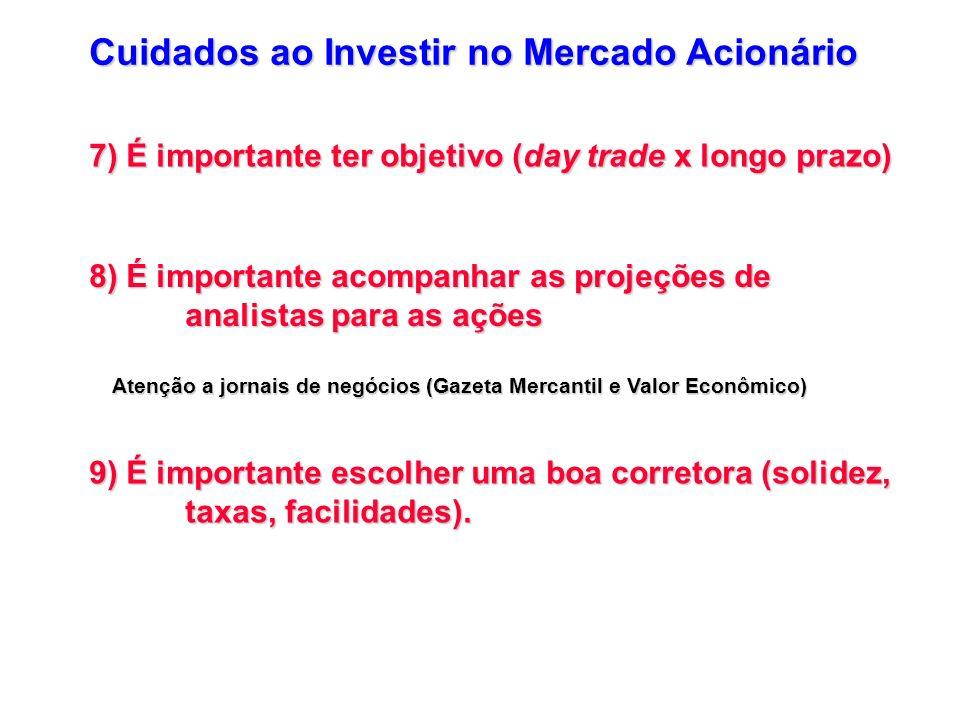 7) É importante ter objetivo (day trade x longo prazo) 8) É importante acompanhar as projeções de analistas para as ações Atenção a jornais de negócio