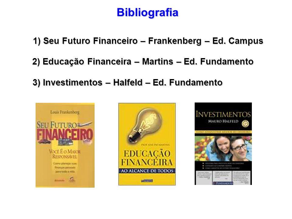 Bibliografia 1) Seu Futuro Financeiro – Frankenberg – Ed. Campus 2) Educação Financeira – Martins – Ed. Fundamento 3) Investimentos – Halfeld – Ed. Fu