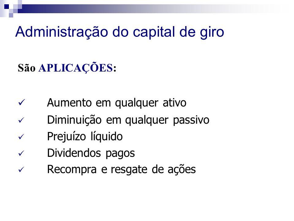 Administração do capital de giro São APLICAÇÕES: Aumento em qualquer ativo Diminuição em qualquer passivo Prejuízo líquido Dividendos pagos Recompra e resgate de ações