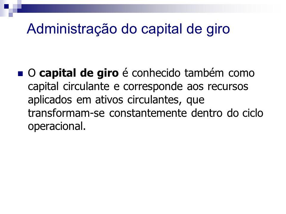 Administração do capital de giro O capital de giro é conhecido também como capital circulante e corresponde aos recursos aplicados em ativos circulantes, que transformam-se constantemente dentro do ciclo operacional.