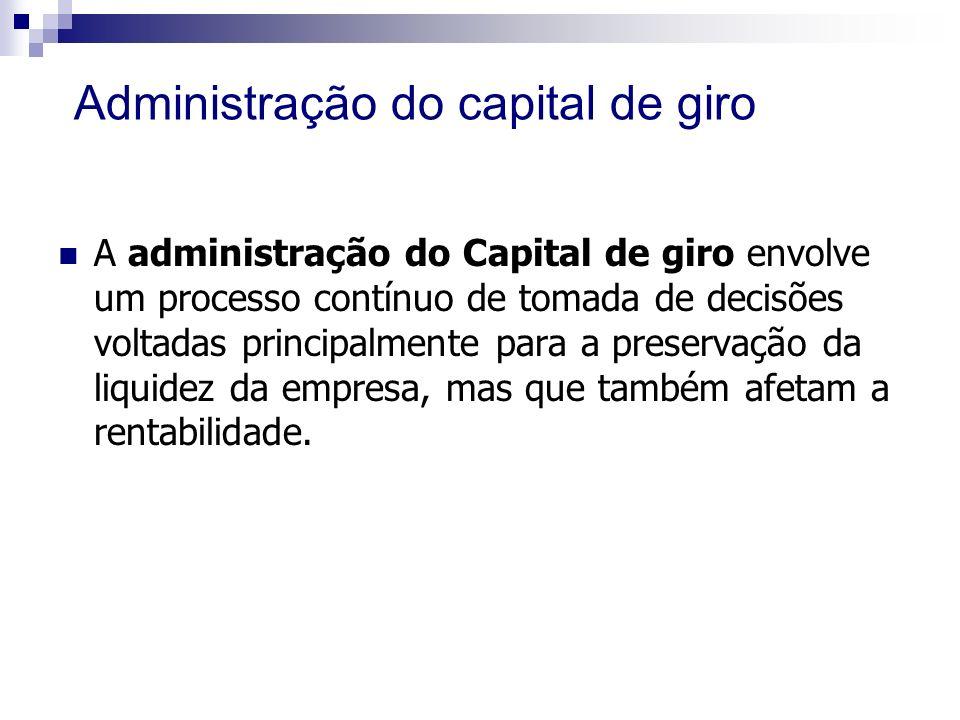 Administração do capital de giro A administração do Capital de giro envolve um processo contínuo de tomada de decisões voltadas principalmente para a preservação da liquidez da empresa, mas que também afetam a rentabilidade.
