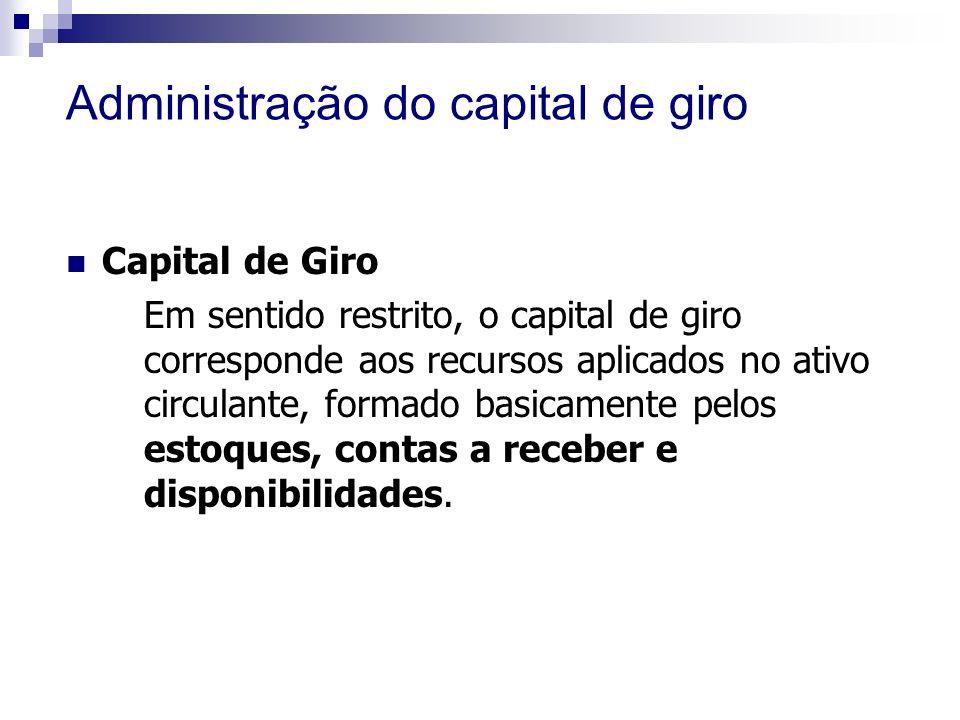 Administração do capital de giro Capital de Giro Em sentido restrito, o capital de giro corresponde aos recursos aplicados no ativo circulante, formado basicamente pelos estoques, contas a receber e disponibilidades.