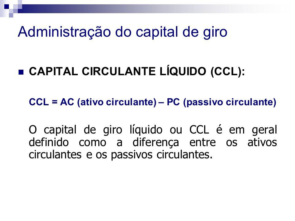 Administração do capital de giro CAPITAL CIRCULANTE LÍQUIDO (CCL): CCL = AC (ativo circulante) – PC (passivo circulante) O capital de giro líquido ou CCL é em geral definido como a diferença entre os ativos circulantes e os passivos circulantes.