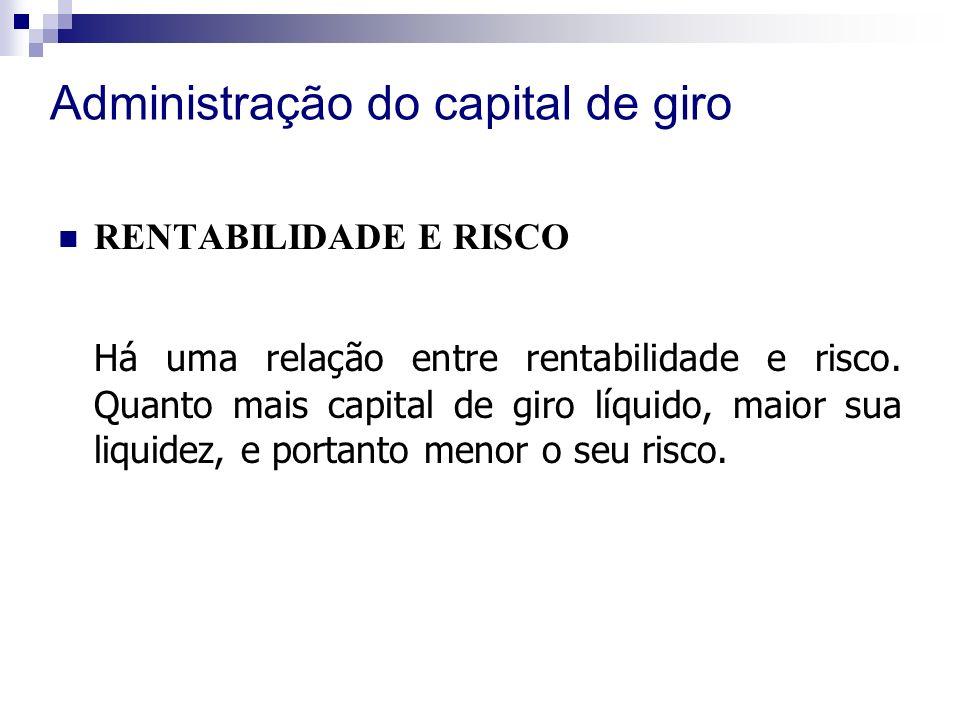 Administração do capital de giro RENTABILIDADE E RISCO Há uma relação entre rentabilidade e risco.