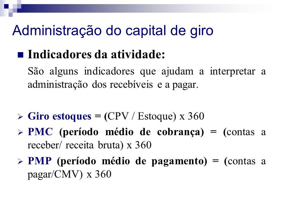 Administração do capital de giro Indicadores da atividade: São alguns indicadores que ajudam a interpretar a administração dos recebíveis e a pagar.