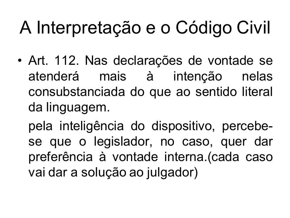 A Interpretação e o Código Civil Art. 112. Nas declarações de vontade se atenderá mais à intenção nelas consubstanciada do que ao sentido literal da l