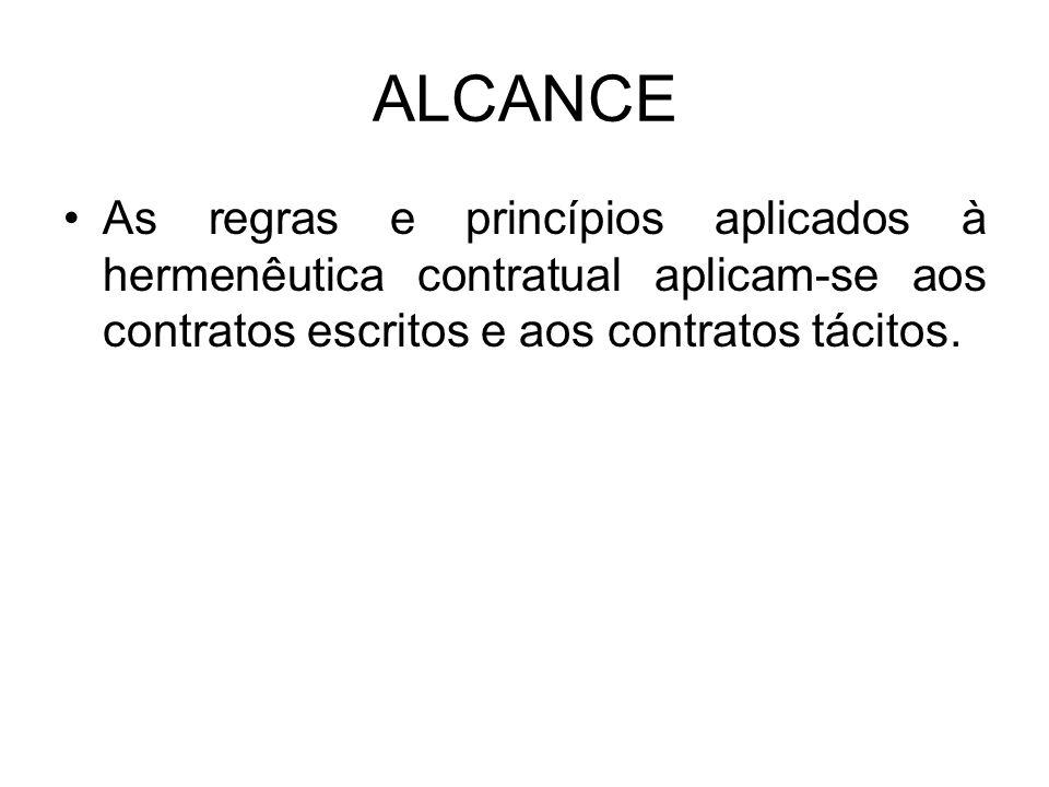 ALCANCE As regras e princípios aplicados à hermenêutica contratual aplicam-se aos contratos escritos e aos contratos tácitos.