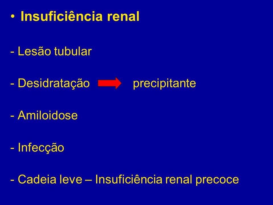 Insuficiência renal - Lesão tubular - Desidratação precipitante - Amiloidose - Infecção - Cadeia leve – Insuficiência renal precoce