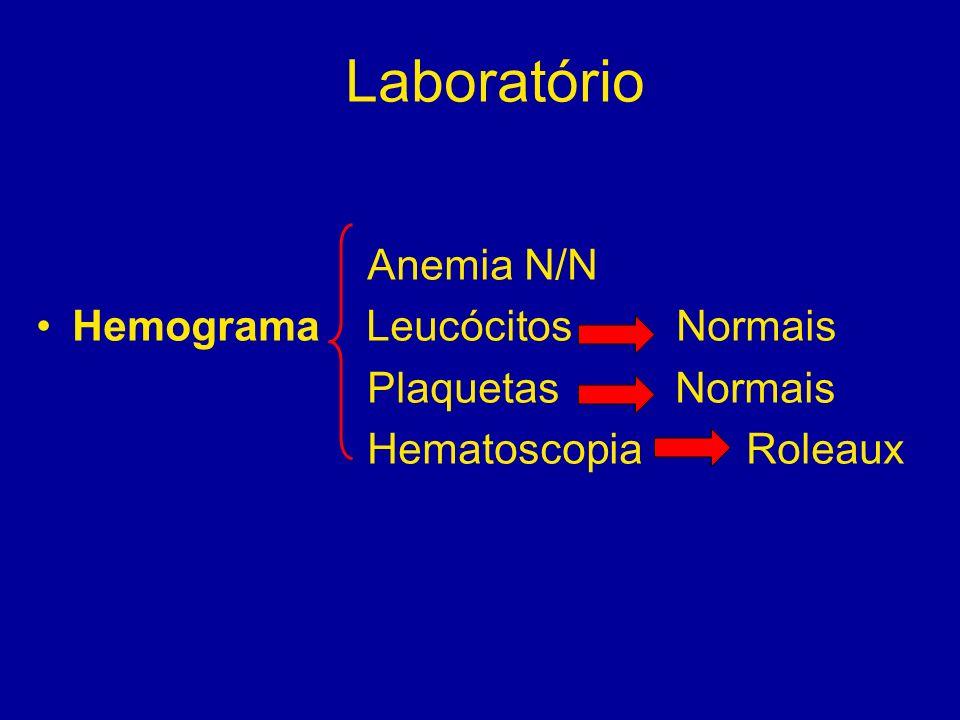 Laboratório Anemia N/N Hemograma Leucócitos Normais Plaquetas Normais Hematoscopia Roleaux