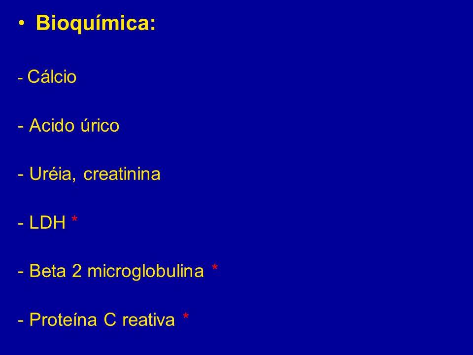 Bioquímica: - Cálcio - Acido úrico - Uréia, creatinina - LDH * - Beta 2 microglobulina * - Proteína C reativa *