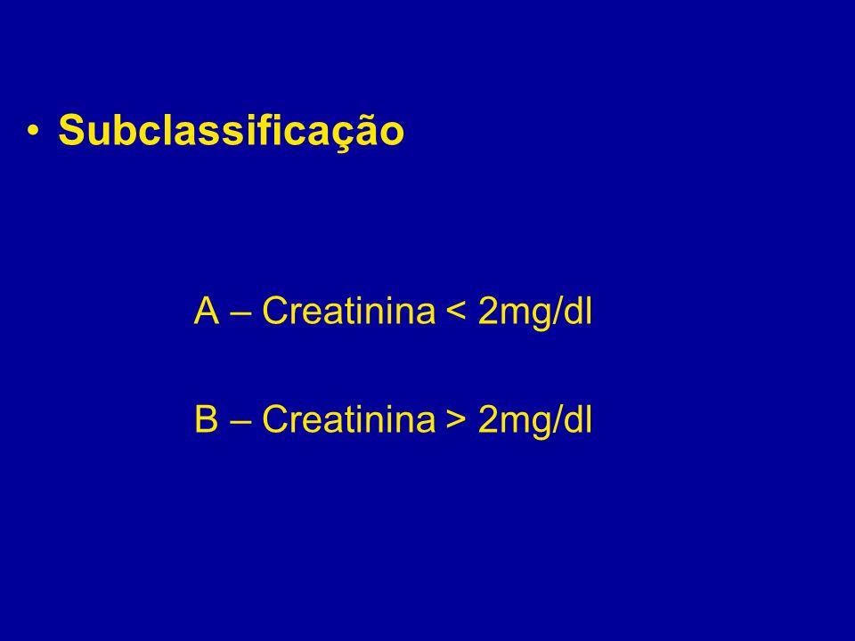 Subclassificação A – Creatinina < 2mg/dl B – Creatinina > 2mg/dl