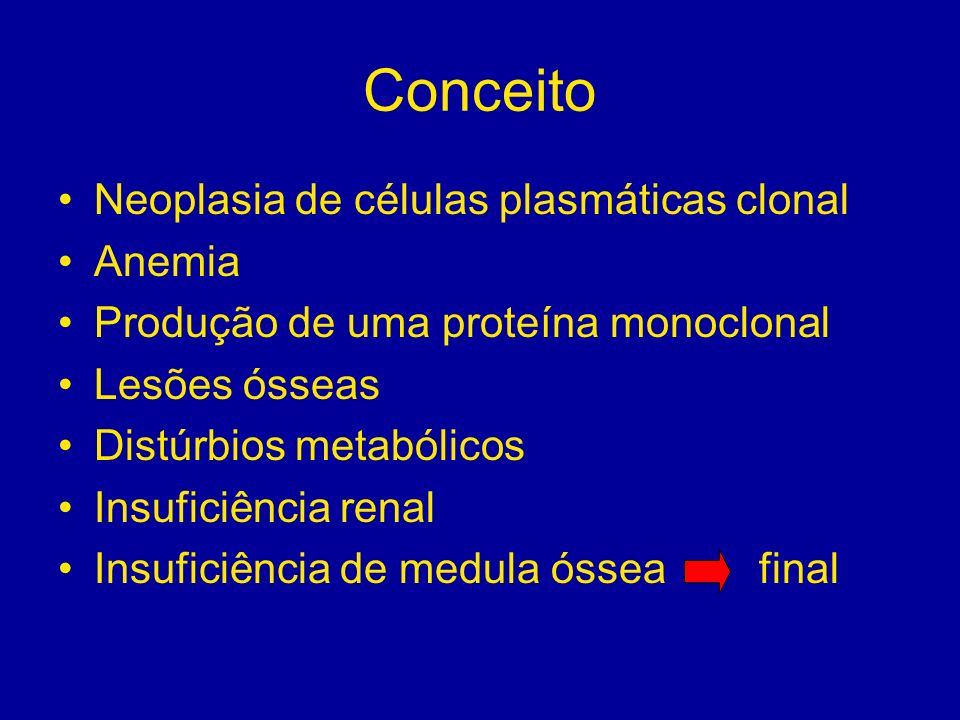 Conceito Neoplasia de células plasmáticas clonal Anemia Produção de uma proteína monoclonal Lesões ósseas Distúrbios metabólicos Insuficiência renal I