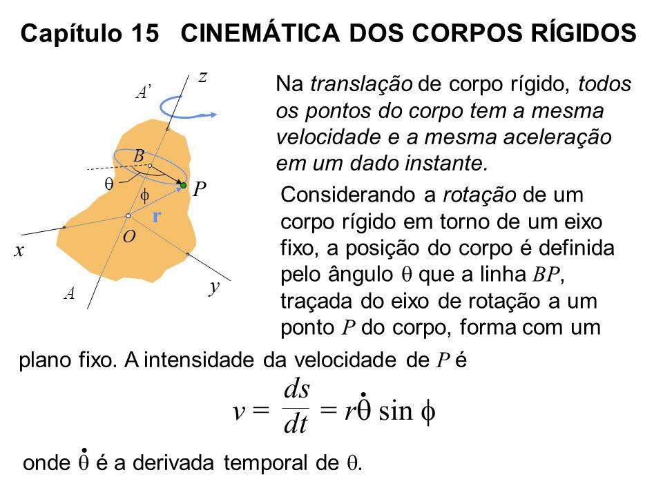 Capítulo 15 CINEMÁTICA DOS CORPOS RÍGIDOS Na translação de corpo rígido, todos os pontos do corpo tem a mesma velocidade e a mesma aceleração em um da