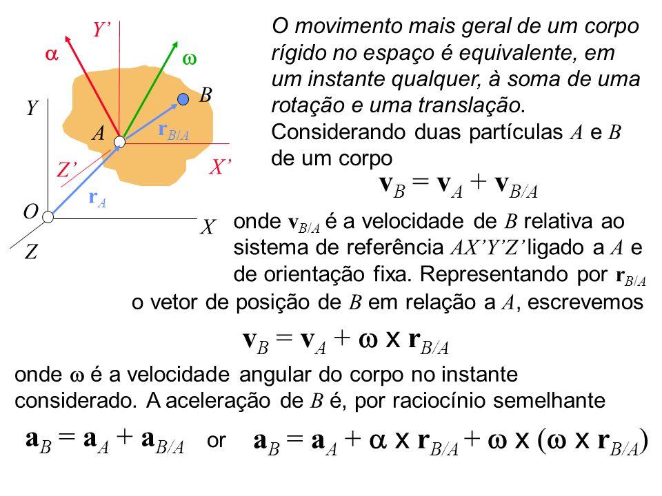 B r B/A O A X Y Z X Y Z r A O movimento mais geral de um corpo rígido no espaço é equivalente, em um instante qualquer, à soma de uma rotação e uma tr